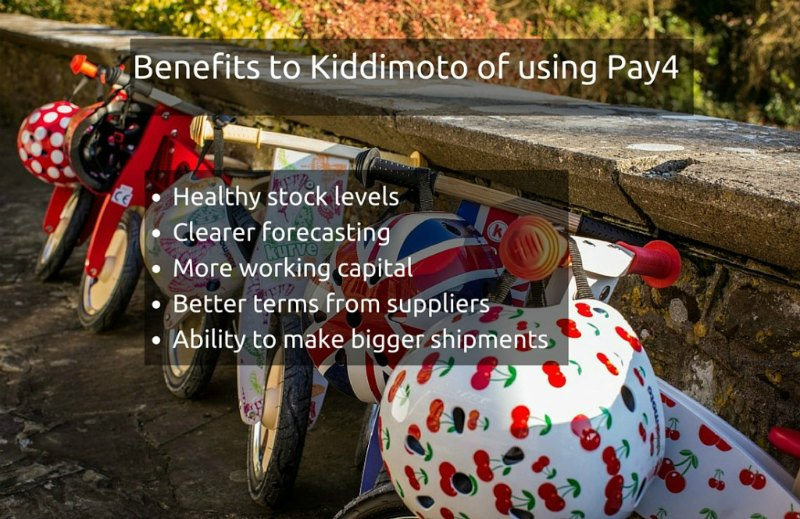The benefits for Kiddimoto of using alternative business finance